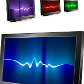Visual displays with abstract waves background