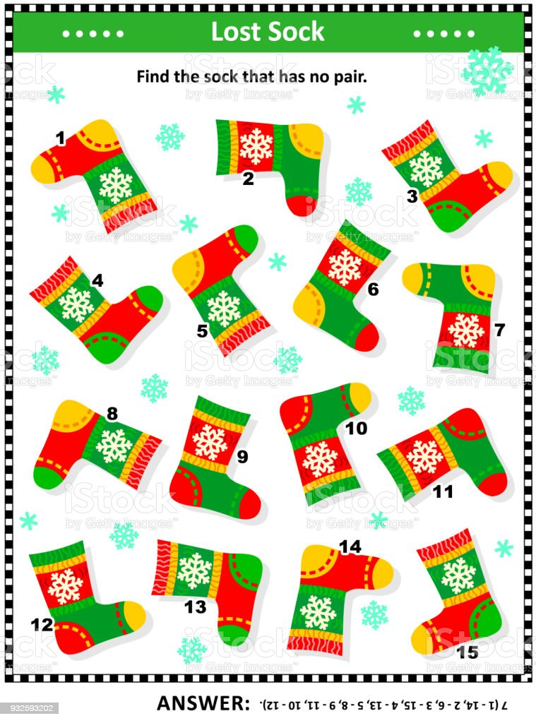 visual logic puzzle with knitted socks royalty free visual logic puzzle with knitted socks stock - Christmas Logic Puzzles
