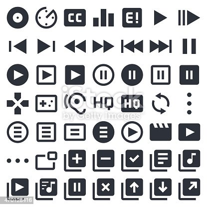 Professional set of 49 black and white pixel perfect icons ready to be used in any kind of design project. EPS 10 file.