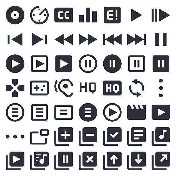 시각형 미디어 아이콘 세트 1/포티 나 이너스 시리즈 - 놀기 stock illustrations