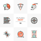 Modern flat icons set of visual data charts, visualization template. Unique color flat graphics elements with stroke lines. Premium quality vector pictogram concept for web, branding, infographics.
