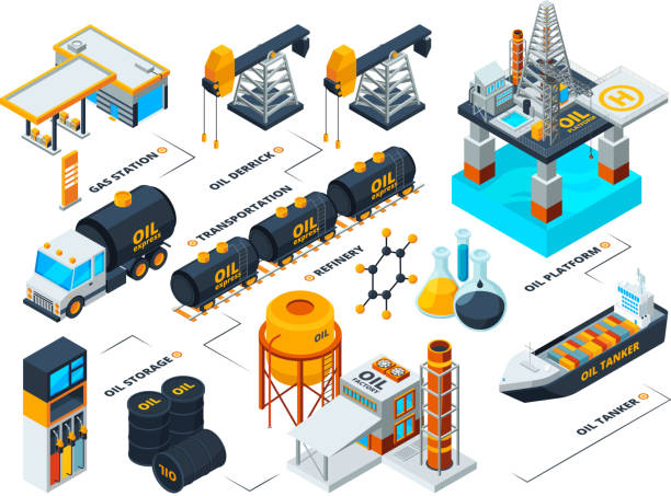 Visualization of all stages of oil production. Isometric pictures Visualization of all stages of oil production. Isometric pictures. Vector oil industrial, refining and drilling, production refinery illustration oil and gas stock illustrations