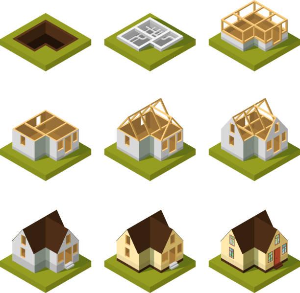 ilustrações, clipart, desenhos animados e ícones de visualização de moderno edifício em estágios diferentes de construção. ilustração vetorial isométrica - infográficos de site