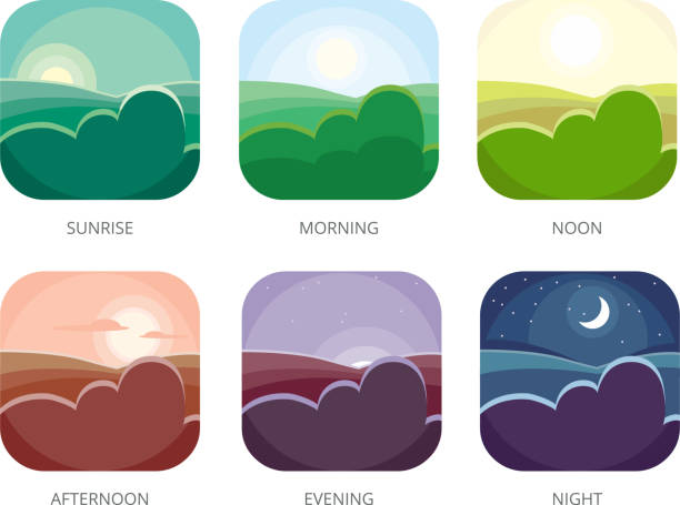 illustrazioni stock, clip art, cartoni animati e icone di tendenza di visualization of various times of day. morning, noon and night. flat style vector illustrations - mattina