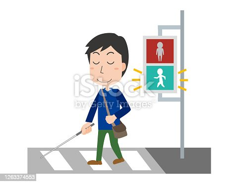 Visually impaired crossing the signal