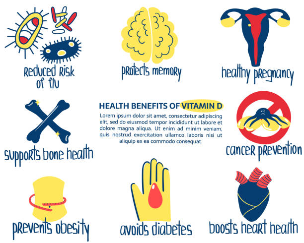 vit d benefits - vitamin d stock illustrations