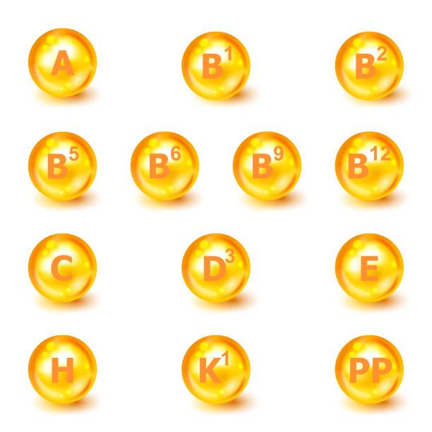 비타민 a, b1, b2, b5, b6, b9, b12, c, d3, e, h, k1, pp. 비타민 복합체. 아이콘 집합입니다. 벡터 그림입니다. 영양 기호 벡터 개념입니다. 비타민의 힘. 비타민 그룹 세트. 건강한 삶의 개념 - vitamin d stock illustrations