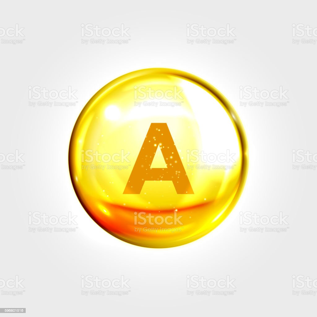 Vitamin A gold icon. Retinol drop pill capsule vector art illustration