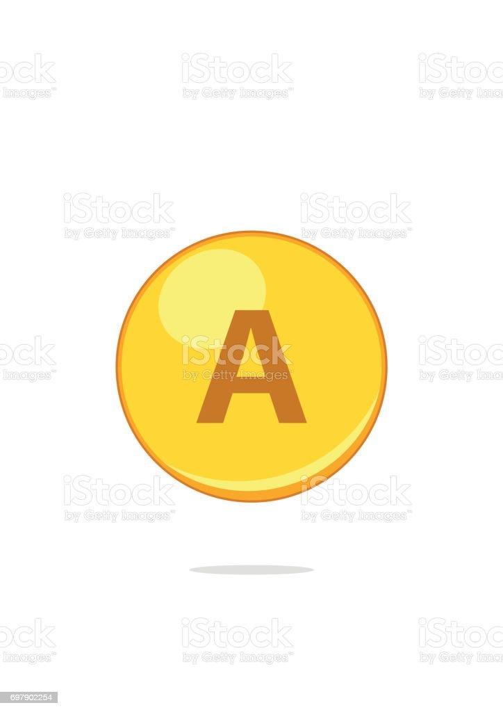 Vitamin A gold pill capcule icon isolated on white background. Retinol vitamin drop pill capsule vector art illustration