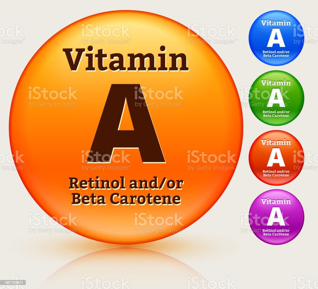 Vitamin A Multi Colored Button Set vector art illustration