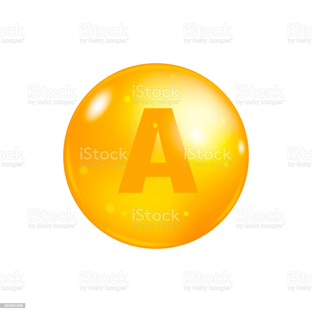 Vitamin A pill isolated on white background. icon vector vector art illustration