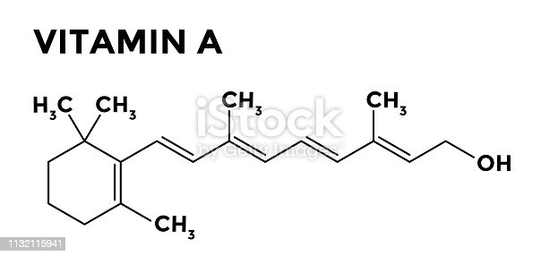 Vitamin A - retinol - structural chemical formula on white background