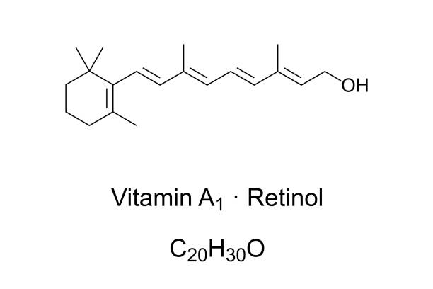 Vitamin A1, also retinol or axerophthol, chemical structure vector art illustration