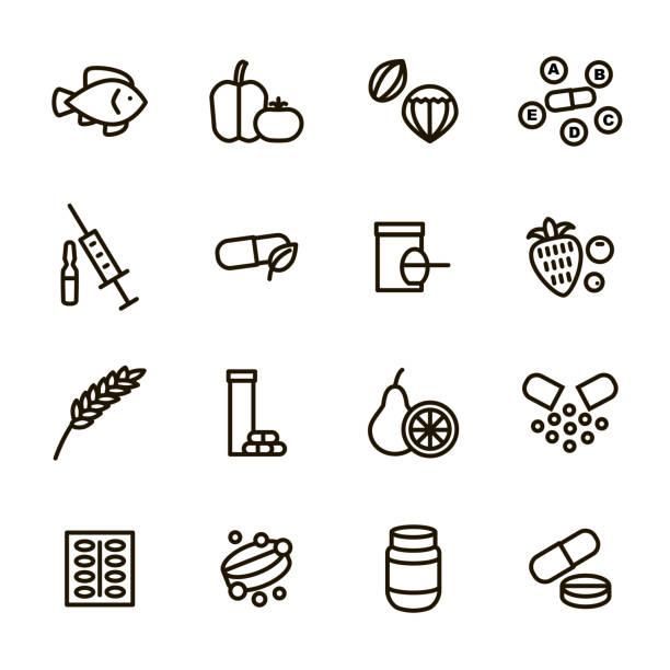 illustrazioni stock, clip art, cartoni animati e icone di tendenza di vitamin and dietary signs black thin line icon set. vector - vitamina