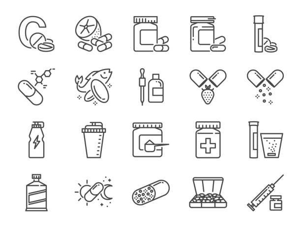 Vitamin and dietary supplement icon set. Included the icons as vitamin c, fish oil, whey protein, tablet, pills, medication, medicine and more Vitamin and dietary supplement icon set. Included the icons as vitamin c, fish oil, whey protein, tablet, pills, medication, medicine and more amino acid stock illustrations