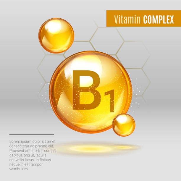 vitamin b1 gold shining pill capcule icon . vitamin complex with chemical formula, group b, thiamine. shining golden substance drop. meds for heath ads. vector illustration - formula 1 stock illustrations