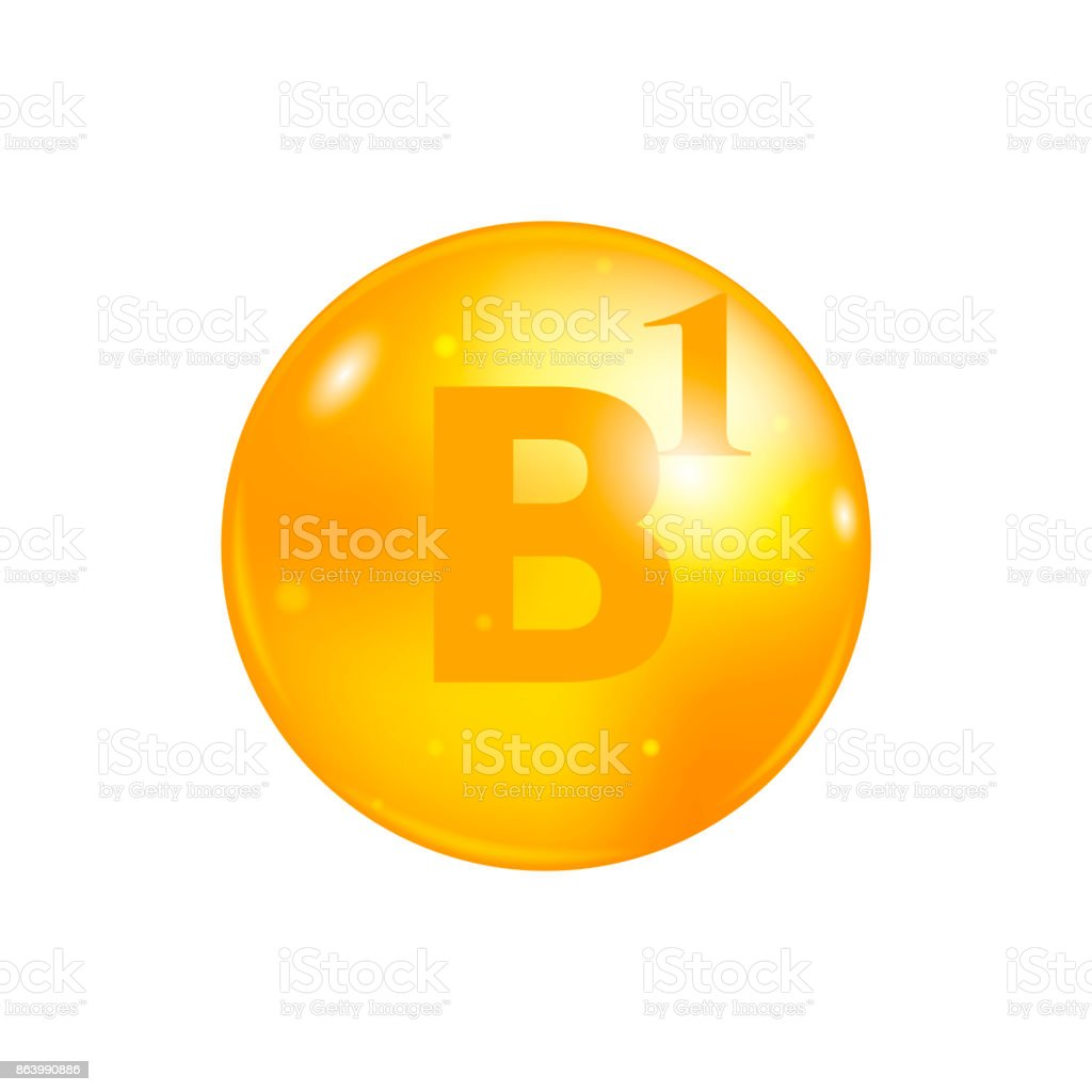 Vitamin B1 pill isolated on white background. icon vector vector art illustration