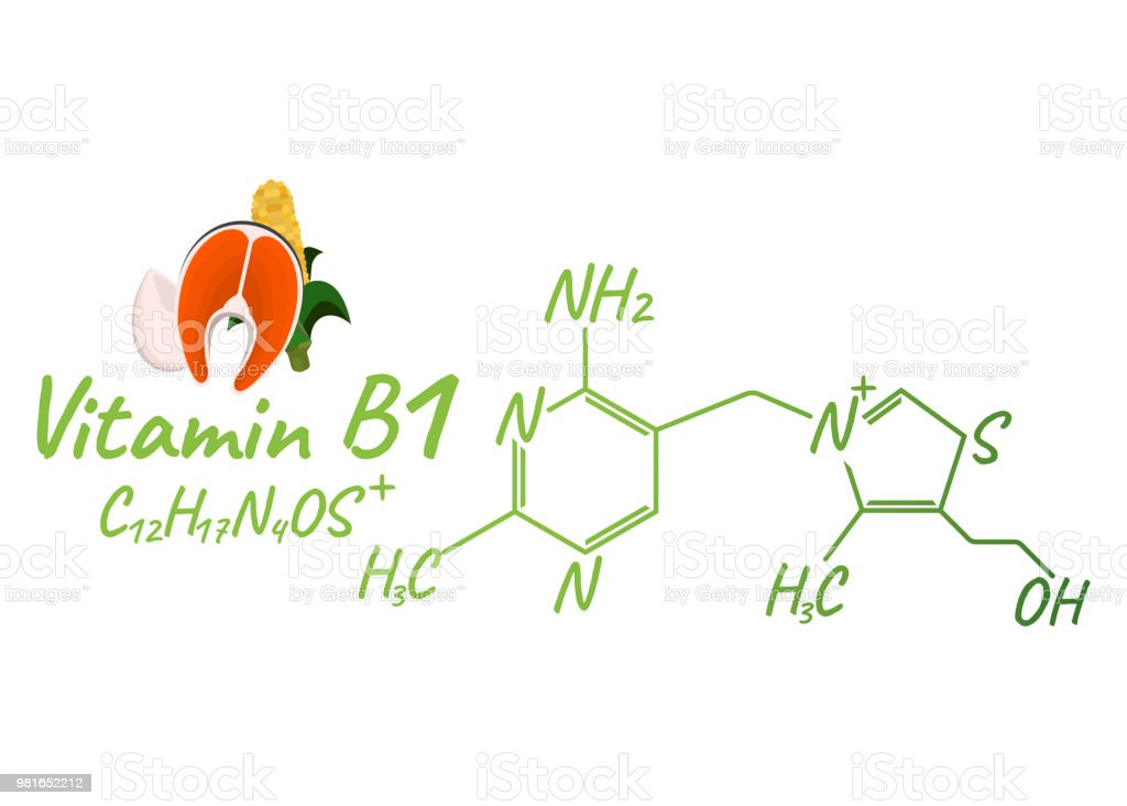 Ilustración de Vitamina B1 Con El Icono Y La Etiqueta De Los ...