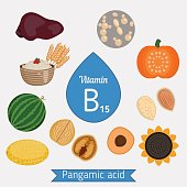 Vitamin B15 or Pangamic Acid and vector set of vitamin B15 rich foods. Healthy lifestyle and diet concept. Pangamic acid.