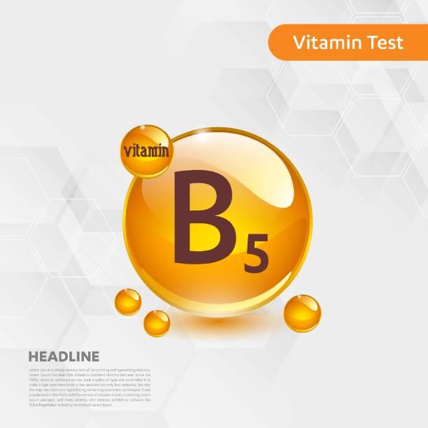 vitamin b5 gold shining pill capcule icon, cholecalciferol. golden vitamin complex with chemical formula substance drop. medical for heath vector illustration - vitamin d stock illustrations