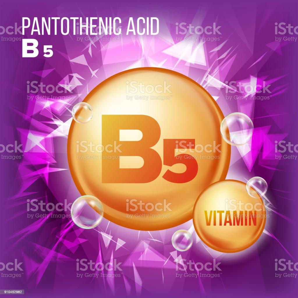 Vitamin B5 Pantothenic Acid Vector. Vitamin Gold Oil Pill Icon. Organic Vitamin Gold Pill Icon. Capsule, Golden Substance. For Beauty, Cosmetic Ads Design. Complex With Chemical Formula. Illustration vector art illustration