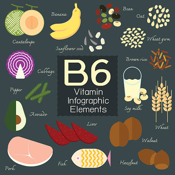 Vitamin B6 infographic element. vector art illustration