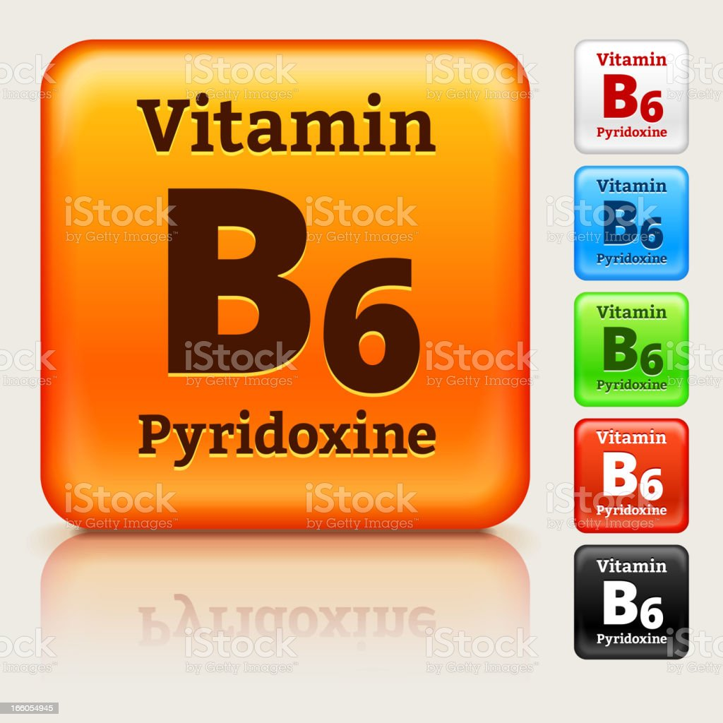 Vitamin B6 Multi Colored Button Set royalty-free stock vector art