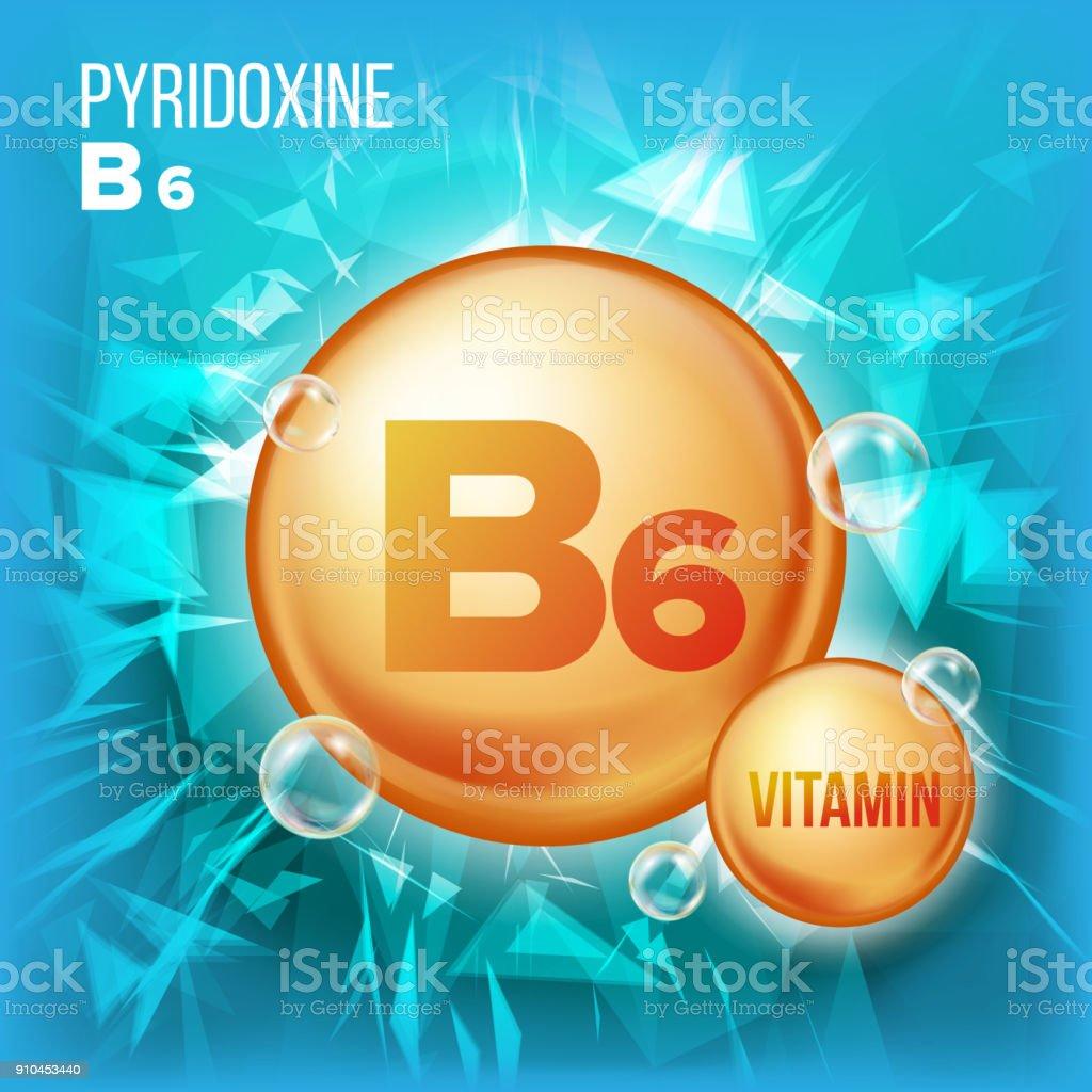 Vitamin B6 Pyridoxine Vector. Vitamin Gold Oil Pill Icon.Organic Vitamin Gold Pill Icon. For Beauty, Cosmetic, Heath Promo Ads Design. 3D Vitamin Complex With Chemical Formula. Illustration vector art illustration