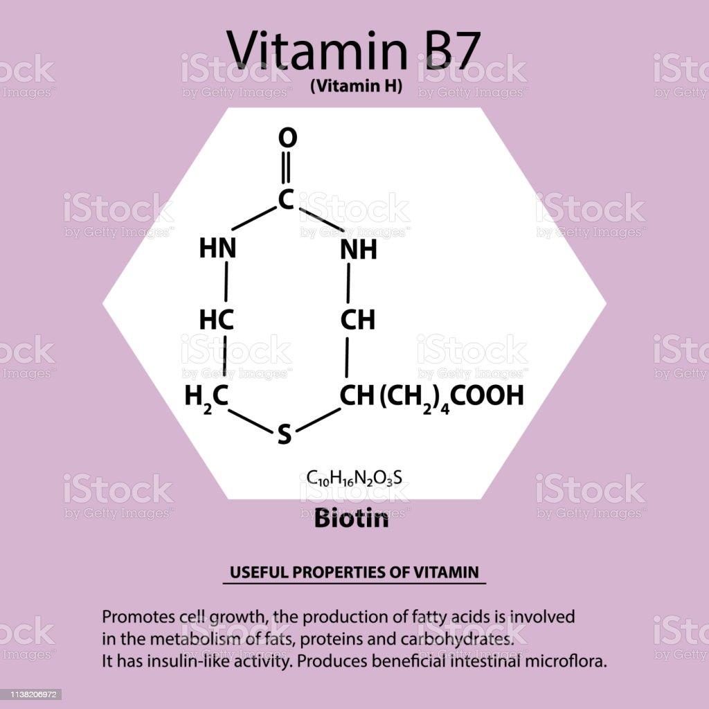 Vitamin B7. Biotin Molecular chemical formula. Useful properties of...