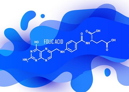 Vitamin B9 folic acid molecule. Skeletal formula