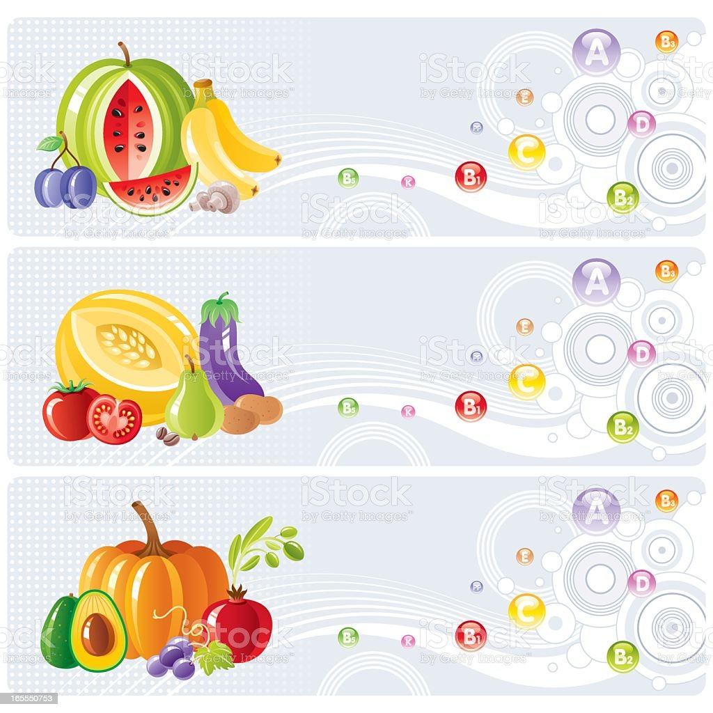 Vitamin banners with fruits and vegetables vector art illustration