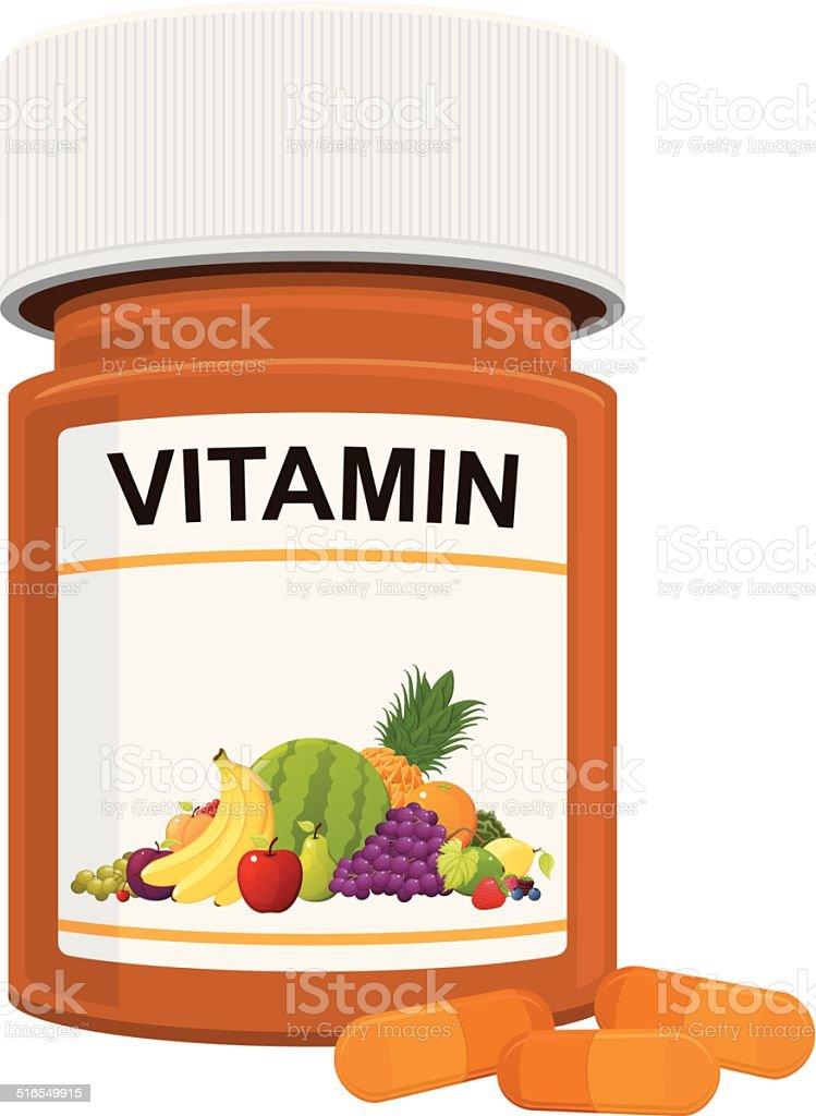 Vitamin Bottle vector art illustration