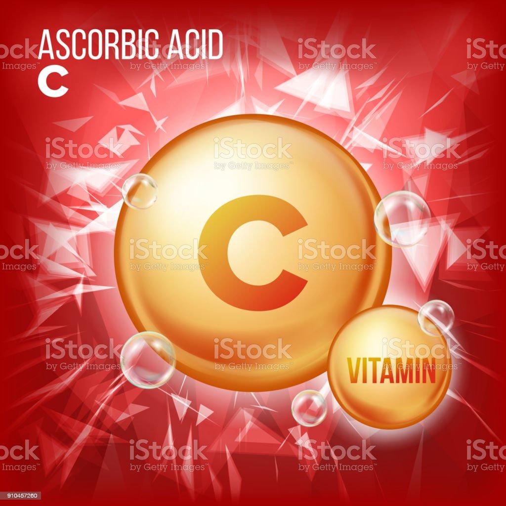 Vitamin C Ascorbic Acid Vector. Organic Vitamin Gold Pill Icon. Medicine Capsule, Golden Substance. For Beauty, Cosmetic, Heath Promo Ads Design. Vitamin Complex With Chemical Formula. Illustration vector art illustration