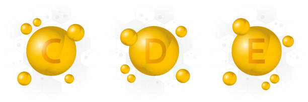 vitamin c, d, e icon. golden bubble on hexagon background. vector - vitamin d stock illustrations