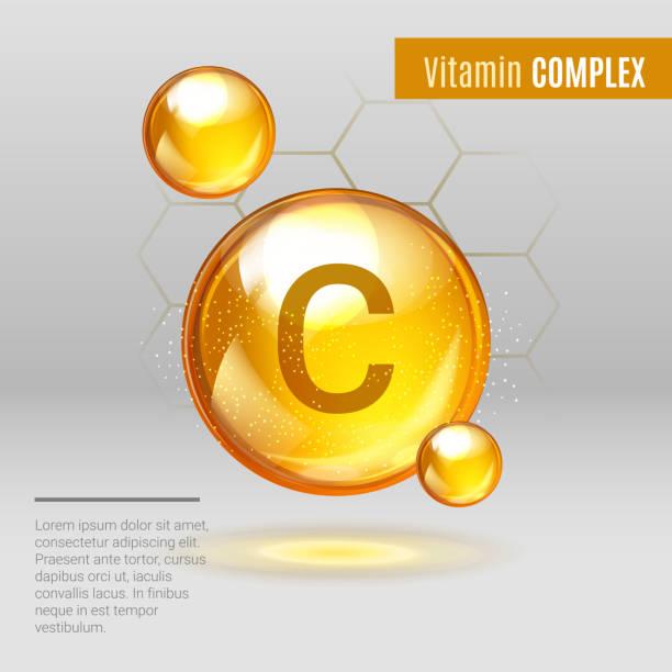 illustrazioni stock, clip art, cartoni animati e icone di tendenza di vitamin c gold shining pill capcule icon - vitamina