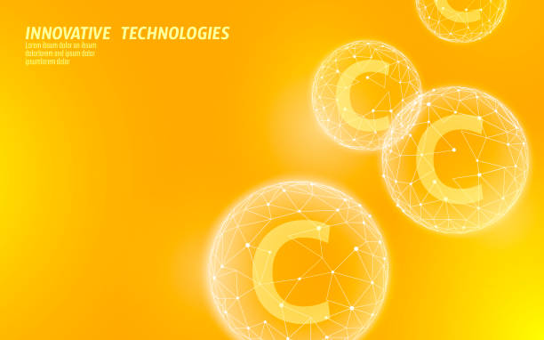 Vitamin C low poly sphere bright orange color. Health supplement skin care anti-aging cosmetics ad complex flu treatment. Medicine science banner template vector illustration Vitamin C low poly sphere bright orange color. Health supplement skin care anti-aging cosmetics ad complex flu treatment. Medicine science banner template vector illustration art antiaging stock illustrations