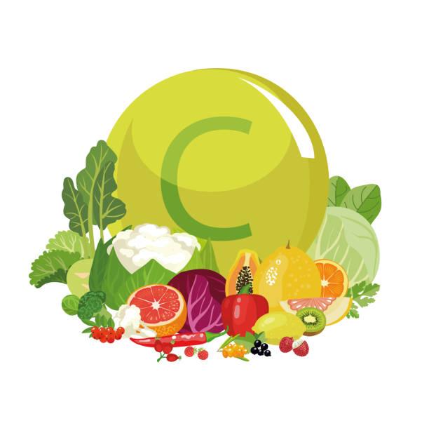 stockillustraties, clipart, cartoons en iconen met vitamine c of ascorbinezuur. - spoorelement