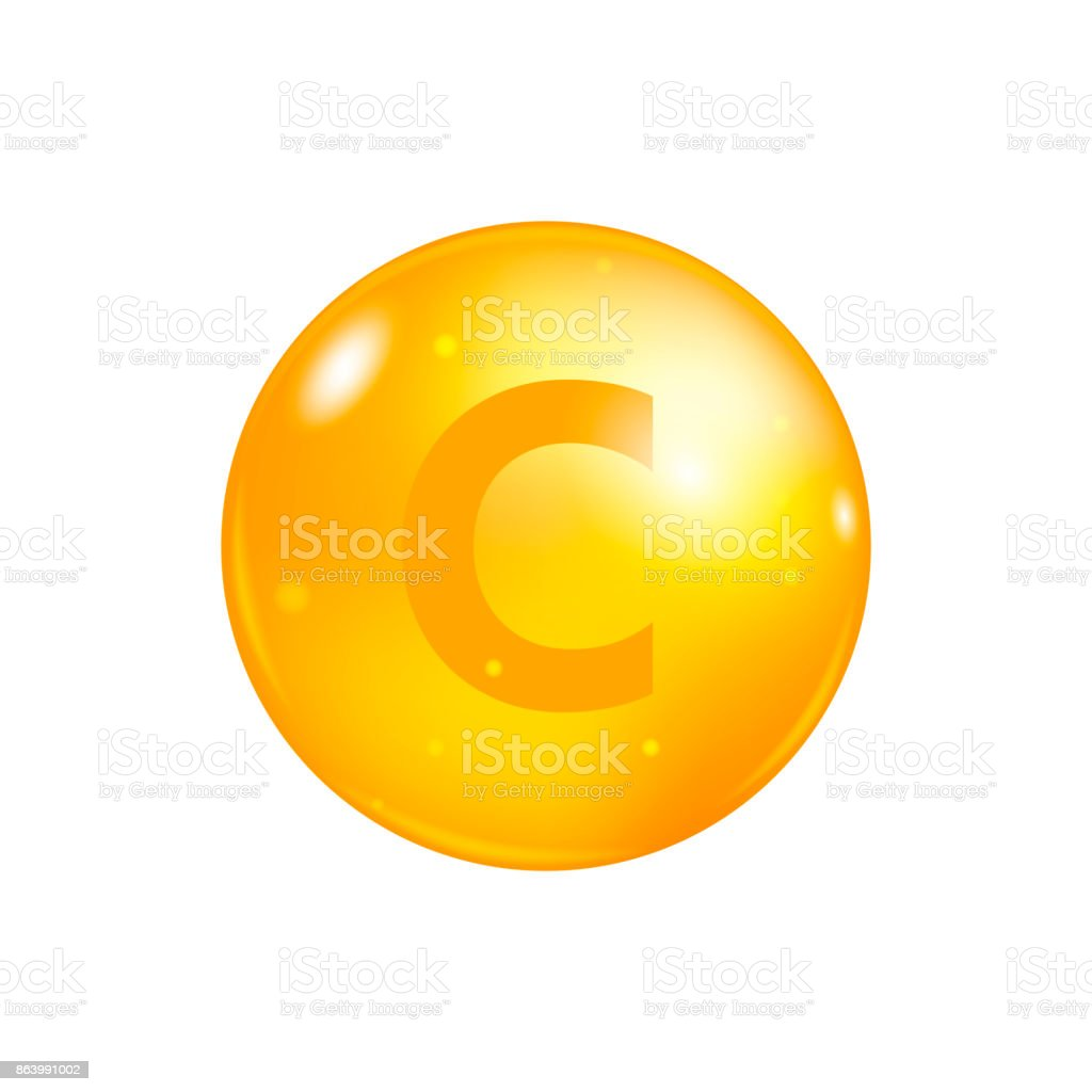 Vitamin C pill isolated on white background. icon vector vector art illustration