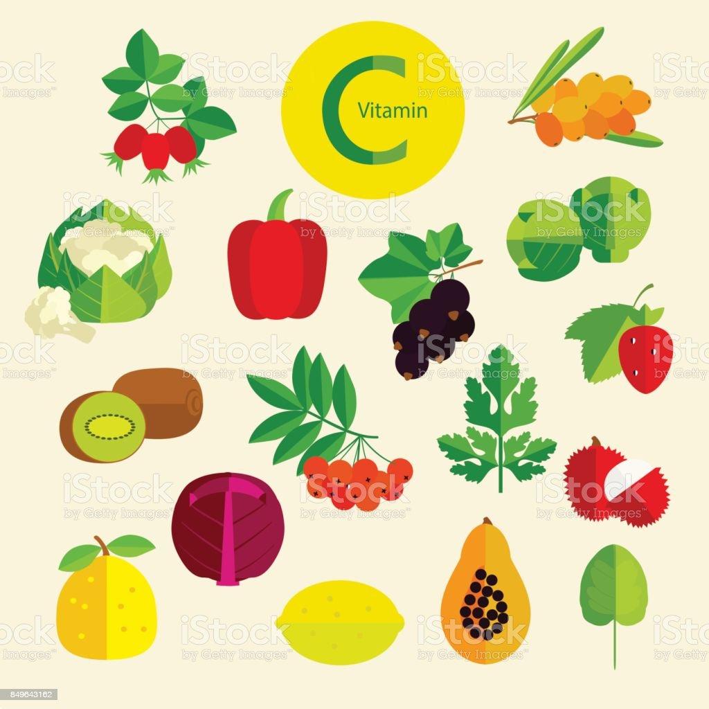 vitamin C. vector art illustration