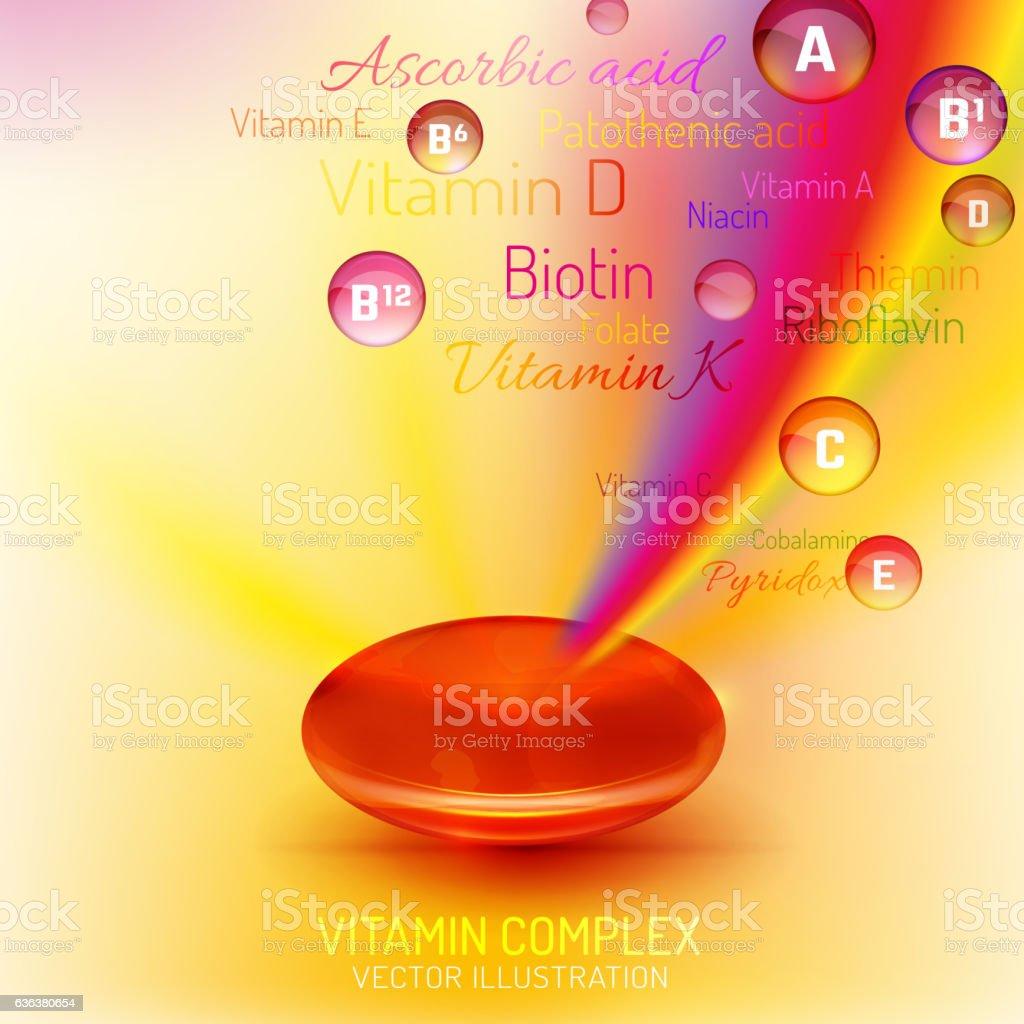 Vitamin Complex Capsule vector art illustration