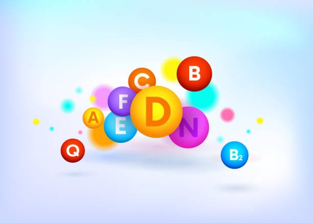 비타민 복잡한 다채로운 벡터 공입니다. a, b, c, d, f, e, n, q. 의료 배경. 의료 인포그래픽.벡터 - vitamin d stock illustrations