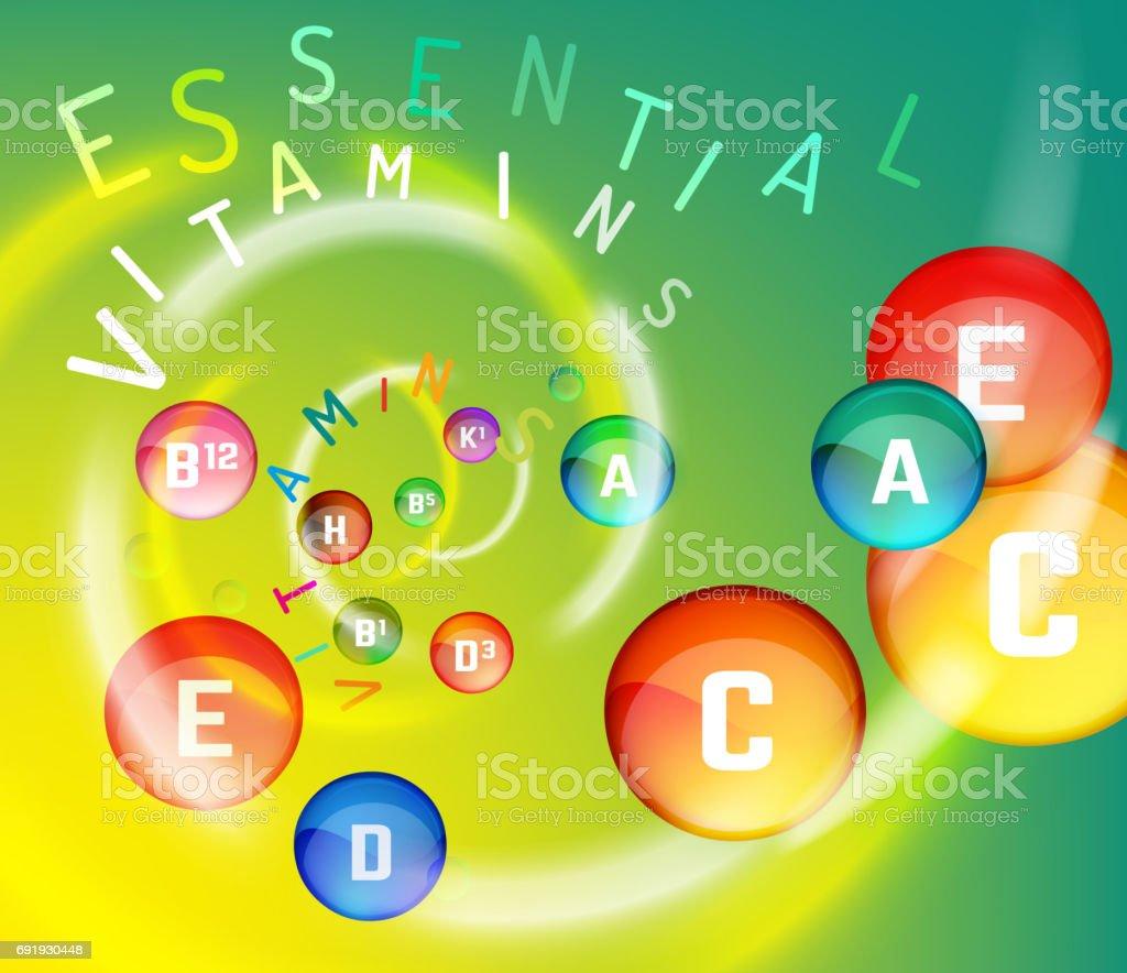 Vitamin Complex Swirl vector art illustration