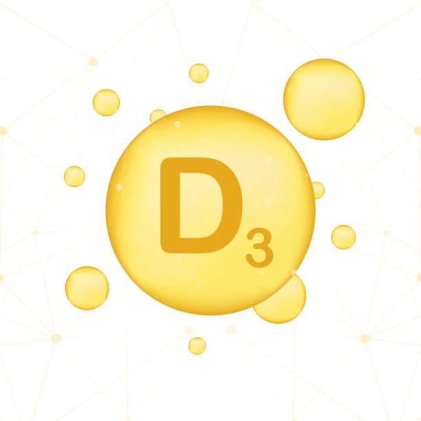 witamina d 3 złota świecąca ikona. kwas askorbinowy. ilustracja wektorowa - vitamin d stock illustrations