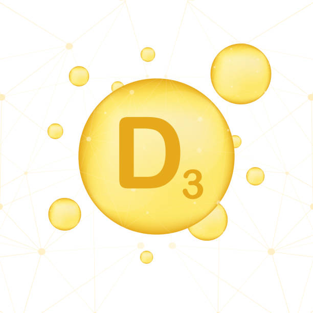d vitamini 3 simge parlayan altın. askorbik asit. vektör çizim - vitamin d stock illustrations