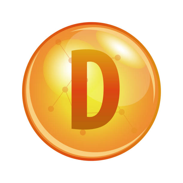 vitamin d capsule. vector icon for health. - vitamin d stock illustrations
