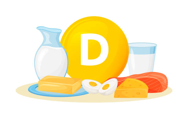 vitamin d food sources cartoon vector illustration - vitamin d stock illustrations