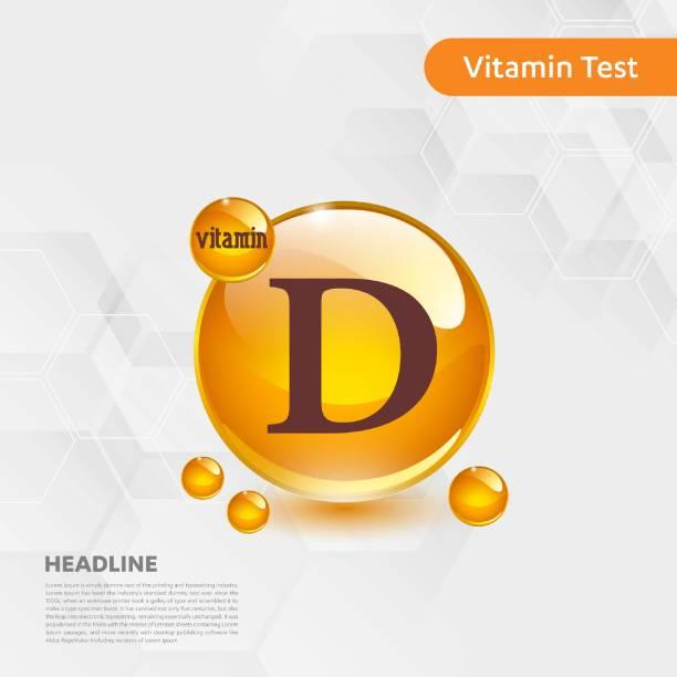d vitamini altın parlayan hap capcule simgesi, cholecalciferol. kimyasal formül madde damla ile altın vitamini kompleksi. tıbbi için sağlık vektör illüstrasyon - vitamin d stock illustrations