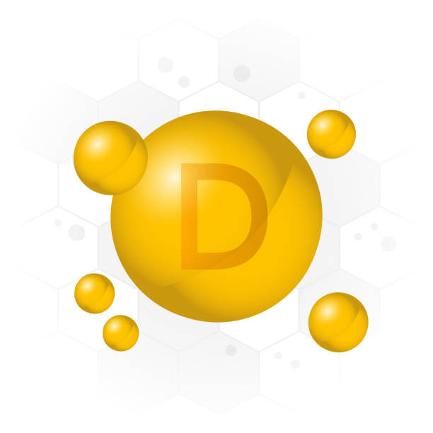vitamin d icon. golden bubble on hexagon background. vector - vitamin d stock illustrations