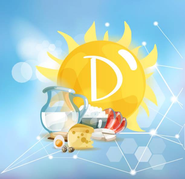 vitamin d. doğal organik - vitamin d stock illustrations