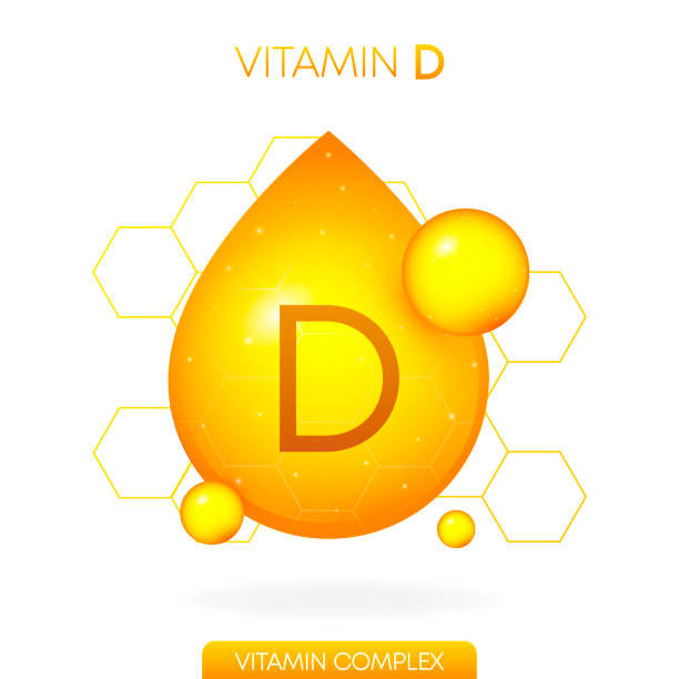 d vitamini gerçekçi simgesi. hap kapsülbeyaz arka plan üzerinde izole bir damla şeklinde. vektör. - vitamin d stock illustrations